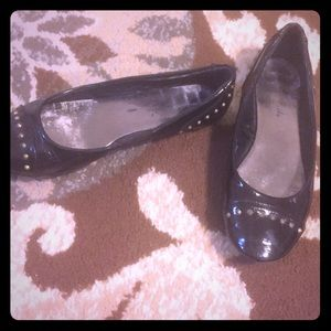 Black Ballet Slipper Shoes with stud detail